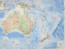 1958 LARGE MAP AUSTRALASIA SOUTH WEST PACIFIC NEW ZEALAND MACQUARIE LORD HOWE