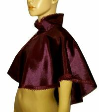 Viola Melanzana bordo in pizzo Silky Cape Mantello vittoriana Steampunk Gothic Whitby