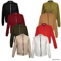 Womens Ladies Crepe Long Sleeve Zip Front Bomber Jacket
