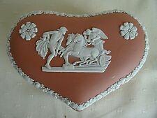VINTAGE PINK WEDGWOOD ENGLAND JASPERWARE HEART SHAPED LIDDED TRINKET BOX