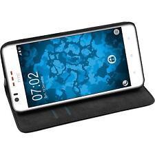 Artificial Leather Case for HTC Desire 825 - Bookstyle black + protective foils