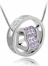 Love Halskette Ring mit Herz Silber mit Swarovski® Elements Lila 18K Weißgold pl