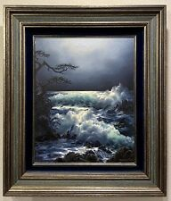 ROSEMARY MINER Original Oil Painting on Canvas MOON & SURF 20x16