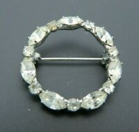 Clear Rhinestone Circle Wreath Silver Tone Pin Brooch Vintage