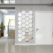 DIY Removable Hexagonal Design Mirror Wall Sticker Home Room Art Decal Paper New