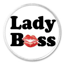 "Lady Boss Smooch Kiss - 3"" Sew / Iron On Patch Girl Feminine Gift Present Lips"