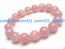 Natural 6/8/10/12mm Pink Rose Quartz Round Gemstone Beads Bracelet 7.5'' AAA+