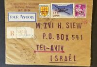 1959 St Paul Reunion to Tel Aviv Israel Registered Multi Franking Airmail Cover