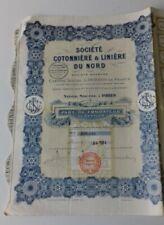 ACTION SOCIETE COTONNIER ET LINIERE DU NORD PART DE FONDATEUR AU PORTEUR  1924