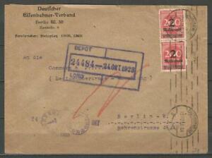 Germany 1923 Mi-309 SG-302 on Letter Eisenbahnerverband Railway Guild Berlin