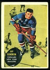 1961 62 TOPPS HOCKEY #57 GUY GENDRON VG NEW YORK N Y RANGERS CARD