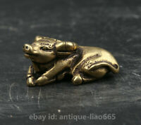 "1.42"" Chinese Pure Bronze Zodiac Likable Animal Bull Oxen Cattle Ox Small Statue"