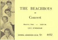 THE BEACH BOYS 1966 SOUTHERN OREGON COLLEGE ORIGINAL CONCERT TICKET / NMT 2 MINT