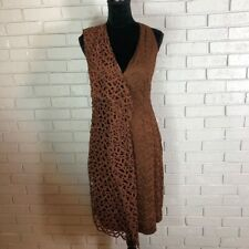 Akris Women's Brown St. Gallen Lace V-Neck Garnet Dress - Size 8