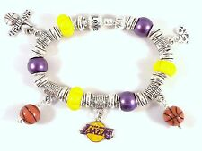 Official NBA LOS ANGELES LAKERS Basketball Charm Bracelet PURPLE YELLOW Silver