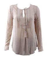 NWOT Joseph A Ladies' Crinkle Blouse Loose Fit Top Shirt - Khaki - Medium