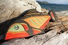 Northwest Coast First Nations Native wooden Art carving: SALMON, signed, inlaid