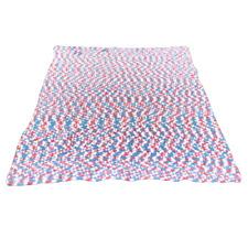 Vintage Hand Crochet Afghan Blanket Throw Blue Shell Pattern