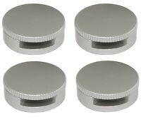 4 console patte support rond mural fixation miroir glace en métal argent mat 90°