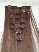 """chestnut brown 7pcs set straight 20"""" long clip in on hair extension heat resist"""