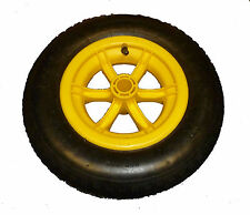 "YELLOW SPOKED wheelbarrow / Trolley Wheel Pneumatic 14"" Tyre 3.50 - 8 Barrow"