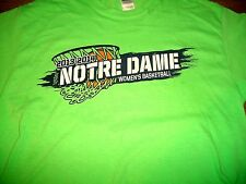 Notre Dame Women's Basketball 2013-2014 Roster Lime Green Spirit T-Shirt Med New