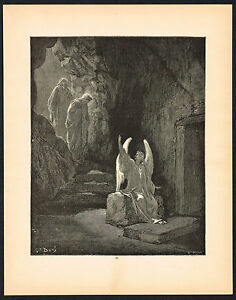 1880s Original Antique Angel Tomb Sepulchre Christian Dore Art Engraving Print