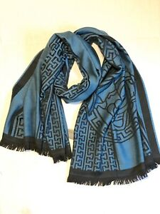 New! Authentic! Versace Men's Large Throw Scarf 100% Wool Tale/Black