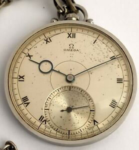 Omega Art-Deco Breguet Hand Acier Pocket Watch Open Face - Starbrite