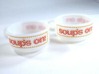 Glasbake Milk Glass Soup Chili Bowl Soup's On! Set of 2 Red Gingham Vtg Kitchen