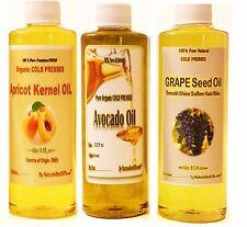 Apricot Kernel Oil, Grape Seed Oil, Avocado Oil, ORGANIC VIRGIN 100% PURE OILS