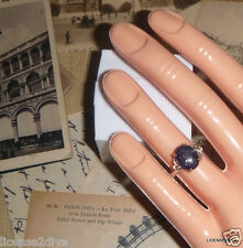 STERLING SILVER DARK BLUE SUN STONE ART DECO VINTAGE RING! SIZE 6! ART DECO