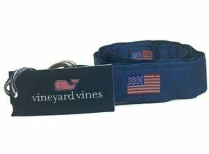 Vineyard Vines Mens Sz M Moonshine USA American Flag Pattern D-Ring Belt NWT $48