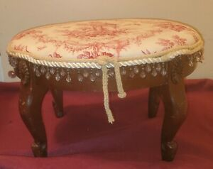 Vintage Victorian Asian Inspired Footstool With Beading