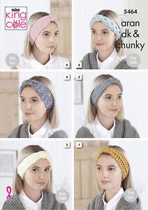 King Cole Ladies Aran Chunky & DK Knitting Pattern Womens Winter Headbands 5464