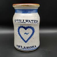 Stillwater Oklahoma Salt Glaze Pottery Artist Signed Flower Vase Utensil Holder