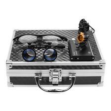 35x Dental Binocular Loupes With 3w Led Head Light Filter Aluminum Box Black
