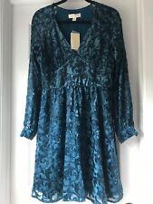 $225 MICHAEL Michael Kors Velvet Devoré Party Dress Lurex LUXE TEAL Size S