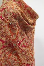 Ice Red Orange Embroidered Cowl Silk Top Paisley inspired boho print M *NEW*