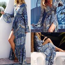 Women Summer Boho Floral Print V Neck High Split Party Beach Long Maxi Sun Dress