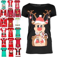 Womens Christmas Ladies Reindeer T Shirt Candy Stick Cap Sleeve Jersey Xmas Top