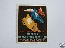 OLD POSTER STAMP  CINDERELLA RAI 1953 MOTORCYCLES, MOTORRAD, MOTO,MOPEDS BROMFIE