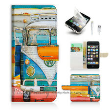 ( For iPhone 5 / 5S / SE ) Wallet Case Cover! Van on the Beach P0074