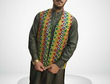Afghan Traditional Waistcoat With Gold Embroidery Kuchi waistcoat Afghan Vest