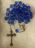 Vtg Rosary Beads Blue Crystal & Sterling