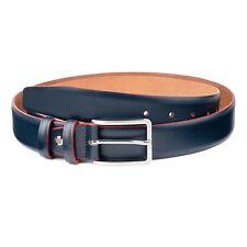Capo Pelle Men's Belts Navy blue Red edges Genuine Italian Leather Buckles Sz 36