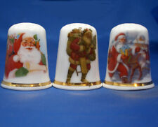 Birchcroft China Thimbles -- Set of Three -- Traditional Christmas Santa Claus