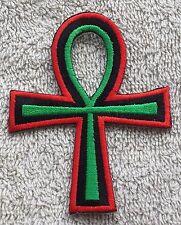 RASTA ANKH CROSS PATCH Cloth Badge/Emblem/Insignia Biker Jacket Pan African Flag
