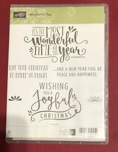 Stampin Up WONDERFUL YEAR Stamp Set Christmas Joyful Peace Greetings Holidays