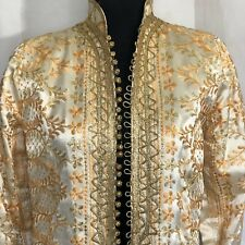 Gold Brocade Long Coat Buttons Down Front Vintage 60s Slit On Side Hostess Party